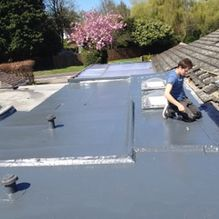 A GPR roofing job being completed by our team