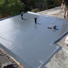 fibre glass roofing work being completed by our team